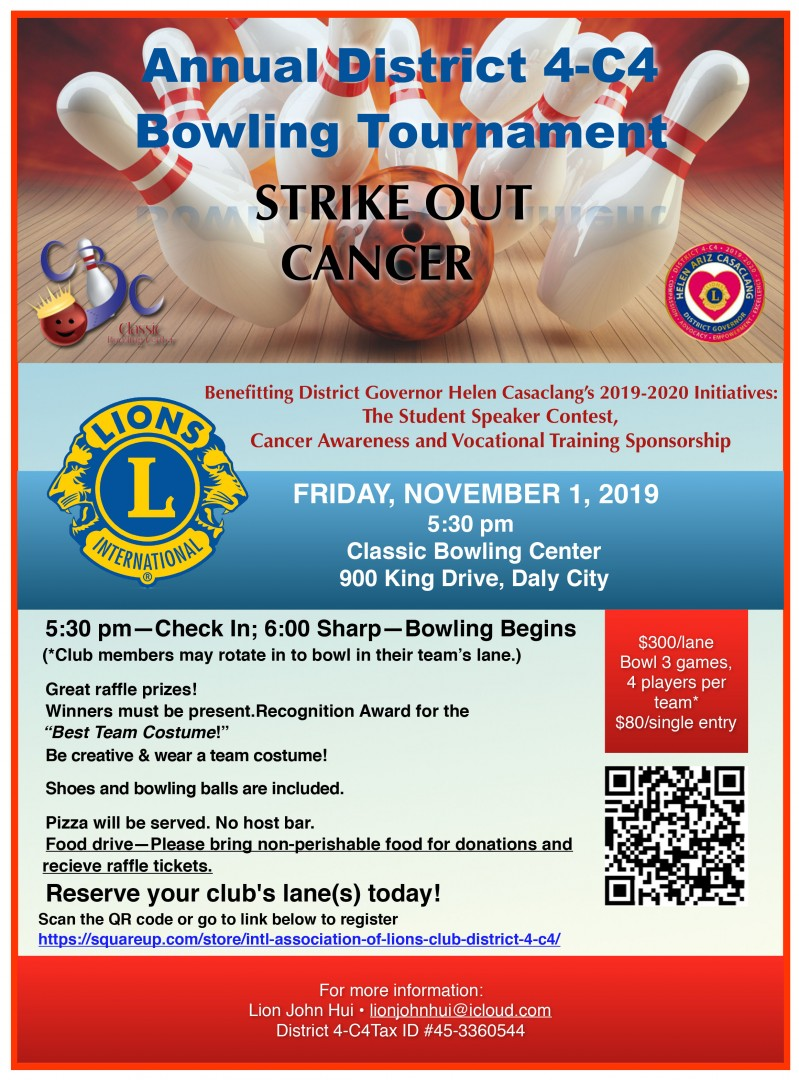 4C4 bowling Strike Out Cancer